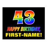 [ Thumbnail: 43rd Birthday: Bold, Fun, Simple, Rainbow 43 Postcard ]