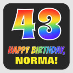 [ Thumbnail: 43rd Birthday: Bold, Fun, Simple, Rainbow 43 Sticker ]