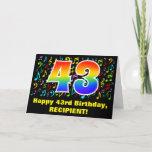 [ Thumbnail: 43rd Birthday: Colorful Music Symbols & Rainbow 43 Card ]
