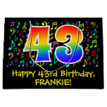 [ Thumbnail: 43rd Birthday - Colorful Music Symbols, Rainbow 43 Gift Bag ]