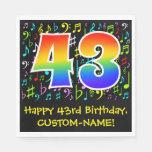 [ Thumbnail: 43rd Birthday - Colorful Music Symbols, Rainbow 43 Napkins ]