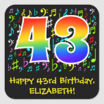 [ Thumbnail: 43rd Birthday: Colorful Music Symbols, Rainbow 43 Sticker ]