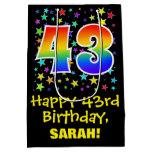 [ Thumbnail: 43rd Birthday: Colorful Stars Pattern & Rainbow 43 Gift Bag ]