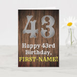 [ Thumbnail: 43rd Birthday: Country Western Inspired Look, Name Card ]