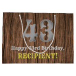 [ Thumbnail: 43rd Birthday: Country Western Inspired Look, Name Gift Bag ]