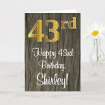 [ Thumbnail: 43rd Birthday: Elegant Faux Gold Look #, Faux Wood Card ]