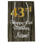 [ Thumbnail: 43rd Birthday: Elegant Faux Gold Look #, Faux Wood Gift Bag ]