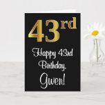 [ Thumbnail: 43rd Birthday ~ Elegant Luxurious Faux Gold Look # Card ]