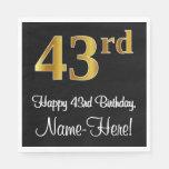 [ Thumbnail: 43rd Birthday ~ Elegant Luxurious Faux Gold Look # Napkins ]