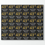 [ Thumbnail: 43rd Birthday: Elegant Luxurious Faux Gold Look # Wrapping Paper ]