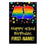 [ Thumbnail: 43rd Birthday: Fun, Colorful Stars + Rainbow # 43 Card ]