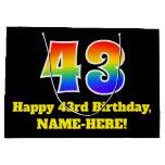 [ Thumbnail: 43rd Birthday ~ Fun, Colorful, Vibrant, Rainbow 43 Gift Bag ]