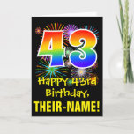 [ Thumbnail: 43rd Birthday: Fun Fireworks Pattern + Rainbow 43 Card ]