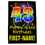 [ Thumbnail: 43rd Birthday: Fun Fireworks Pattern + Rainbow 43 Gift Bag ]