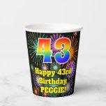 [ Thumbnail: 43rd Birthday: Fun Fireworks Pattern + Rainbow 43 ]