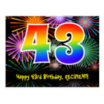 [ Thumbnail: 43rd Birthday – Fun Fireworks Pattern + Rainbow 43 Postcard ]