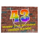 [ Thumbnail: 43rd Birthday: Fun, Graffiti-Inspired Rainbow # 43 Gift Bag ]
