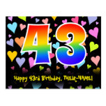[ Thumbnail: 43rd Birthday: Fun Hearts Pattern, Rainbow 43 Postcard ]