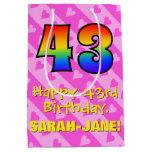 [ Thumbnail: 43rd Birthday: Fun Pink Hearts Stripes; Rainbow 43 Gift Bag ]