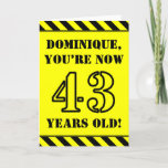[ Thumbnail: 43rd Birthday: Fun Stencil Style Text, Custom Name Card ]