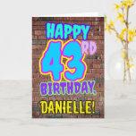 [ Thumbnail: 43rd Birthday - Fun, Urban Graffiti Inspired Look Card ]