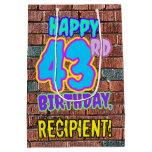 [ Thumbnail: 43rd Birthday: Fun, Urban Graffiti Inspired Look Gift Bag ]