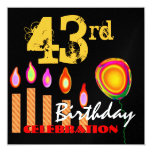 """43rd Birthday Gold Candles and Balloon Metallic 5.25"""" Square Invitation Card"""