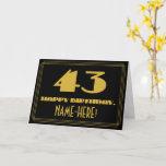 "[ Thumbnail: 43rd Birthday: Name + Art Deco Inspired Look ""43"" Card ]"