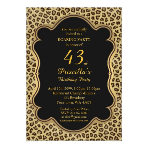 43rd Birthday Party 43rd Cheetah Black Amp Gold Card Zazzle