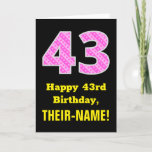 "[ Thumbnail: 43rd Birthday: Pink Stripes and Hearts ""43"" + Name Card ]"