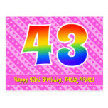 [ Thumbnail: 43rd Birthday: Pink Stripes & Hearts, Rainbow 43 Postcard ]