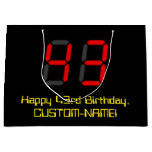 "[ Thumbnail: 43rd Birthday: Red Digital Clock Style ""43"" + Name Gift Bag ]"