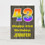 "[ Thumbnail: 43rd Birthday: Rustic Faux Wood Look, Rainbow ""43"" Card ]"