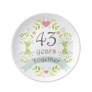 Wedding Gift Years : 43rd Wedding Anniversary Keepsake Gift Porcelain Plates