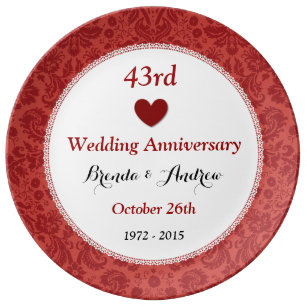 43rd Wedding Anniversary Ruby Red Damask A43a Dinner Plate