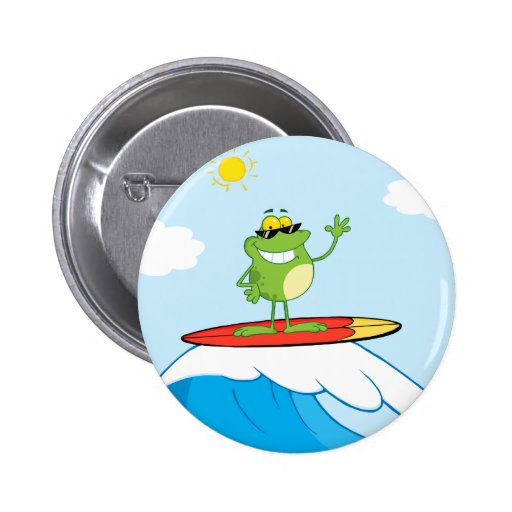4419-Happy-Frog-While-Surfing HAPPY SURFER FROG CA Button
