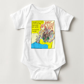 443 Cat wake-up: scratched your eyelid - cartoon Baby Bodysuit