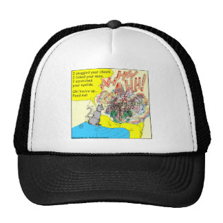 443 Cat wake-up: scratched your eyelid - cartoon Trucker Hat