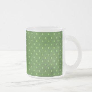 446_lilies GREEN COUNTRY POLKADOTS PATTERN DOTS CI Frosted Glass Coffee Mug