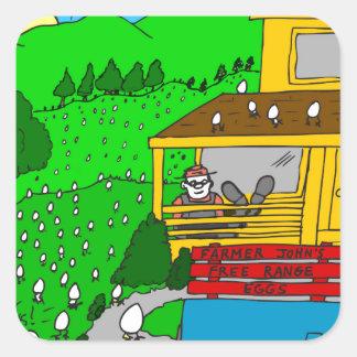 449 free range eggs Cartoon Square Sticker