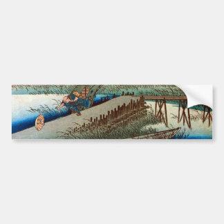 44. 四日市宿, 広重 Yokkaichi-juku, Hiroshige, Ukiyo-e Pegatina Para Auto