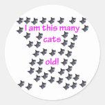 44 cabezas del gato viejas etiqueta redonda