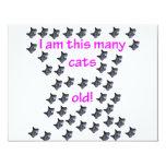 44 cabezas del gato viejas invitación 10,8 x 13,9 cm