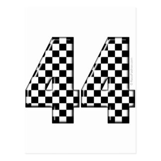 44 checkered number postcard