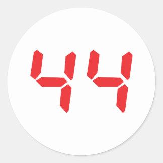 44 cuarenta y cuatro números digitales del etiqueta redonda