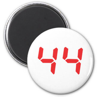 44 fourty-four red alarm clock digital number 2 inch round magnet