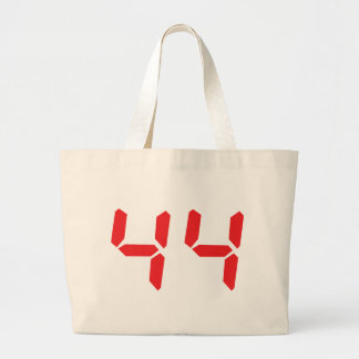 44 fourty-four red alarm clock digital number tote bags