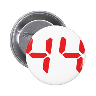 44 fourty-four red alarm clock digital number pinback button