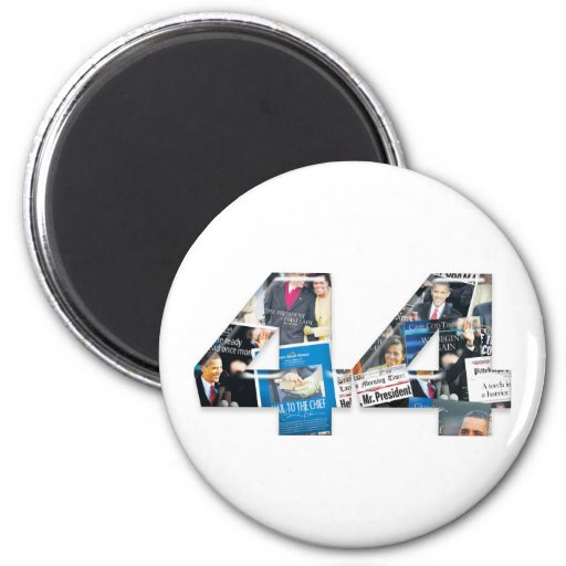 44: Obama Inauguration Newspaper Collage 2 Inch Round Magnet