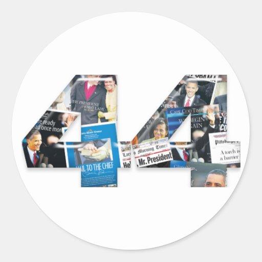 44: Obama Inauguration Newspaper Collage Classic Round Sticker